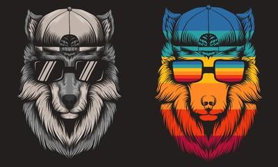 Wolf cool Retro vector illustration
