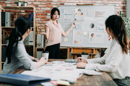 female team leader discussing and brainstorming new approaches and ideas with colleagues. Startup business and entrepreneurship concept. woman boss asking opion of employee in meeting room office.
