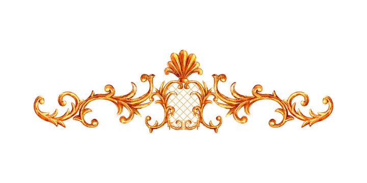 Gold ornament baroque style element vignette. Watercolor hand drawn vintage engraving floral scroll filigree frame.