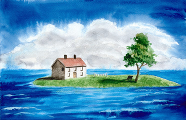 Watercolor picture of a house and a tree on the island in the blue sea