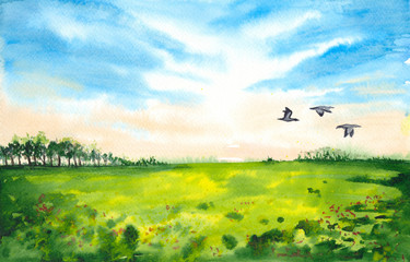 Watercolor picture of a green field with trees in the distance and flying ducks