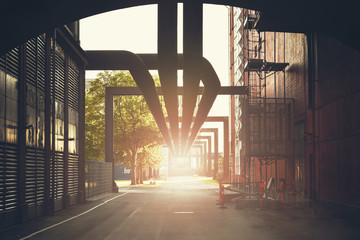 factory industrial zone with pipes Wall mural