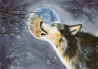 Watercolor picture of a wolf with a moon on the background, snow and tree