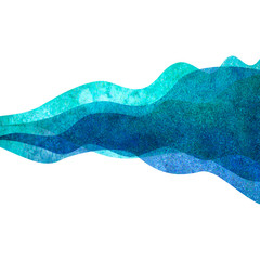 Watercolor transparent wave teal blue colored background. Watercolour hand painted waves illustration