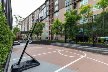 The basketball court in the condo