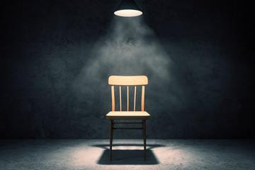 Illuminated chair in interior