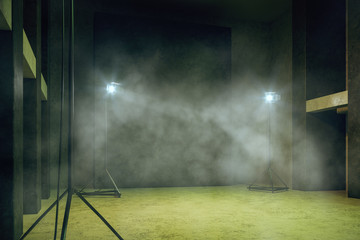 Misty green concrete interior with copyspace