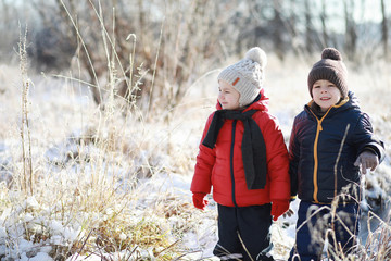 Children in winter park play