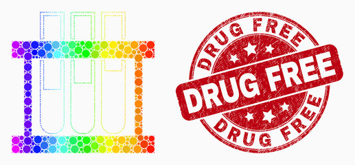 Pixel rainbow gradiented chemical test tubes mosaic icon and Drug Free seal. Red vector rounded textured seal stamp with Drug Free phrase. Vector collage in flat style. Wall mural