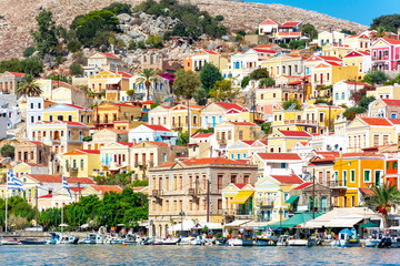 Symi town colorful houses, Dodecanese islands, Greece