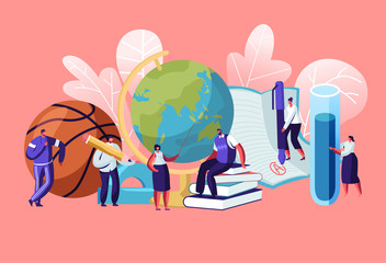 Teachers Characters with Educational Tools and Stationery as Ball Globe Books. Different Disciplines as Geography, Physical Culture, Chemistry, Literature, Language Cartoon Flat Vector Illustration Fototapete