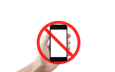 No phone or taking a photo not allow sign, isolated on white background