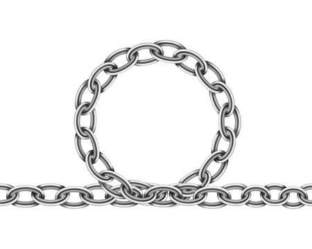 Realistic metal chain texture. Silver color chains link isolated on white background. Strong iron chainlet solid three dimensional design element.