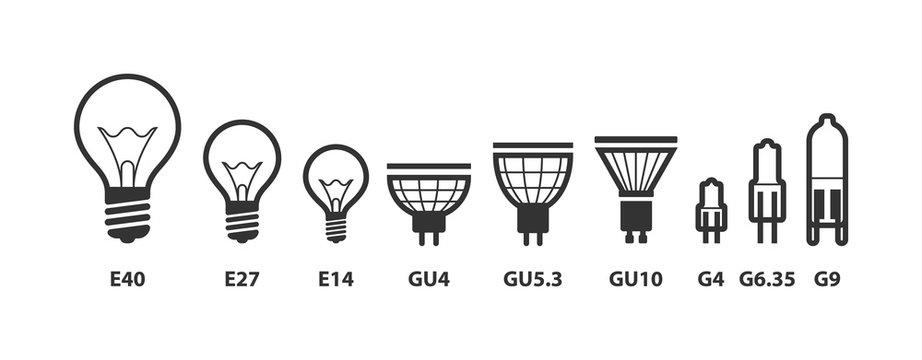 Light bulb icon vector. Llightbulb idea logo concept. Set lamps electricity icons web design element. Led lights isolated silhouette.