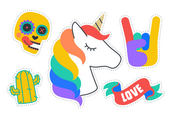 Fun Stickers. Colorful fun stickers. Design cartoon stickers