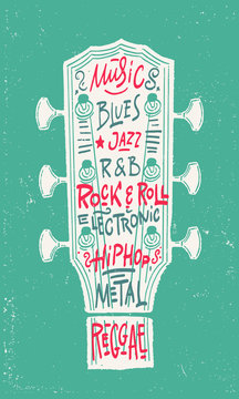 Music, blues, rock and roll, hip hop, jazz, r and b, electronic, regguau flyer. Vector illustration.