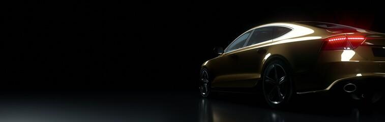 Golden car in dark stage.