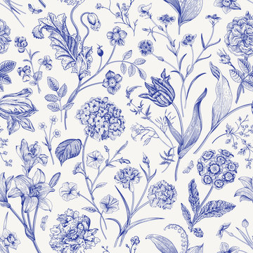 Seamless vector floral pattern. Classic illustration. Toile de Jouy