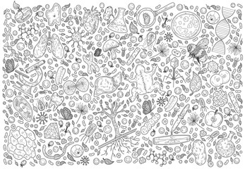 Doodle Science vector illustration . Biology and Biotechnology set. Hand Sketches on the theme of Zoology, Botany, Anatomy on white background.