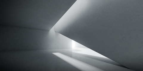 Obraz Abstract of concrete interior space with sun light cast the shadow on the wall and floor,Geometric design,Perspective of brutalism  architecture,3d rendering - fototapety do salonu