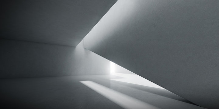 Abstract of concrete interior space with sun light cast the shadow on the wall and floor,Geometric design,Perspective of brutalism  architecture,3d rendering