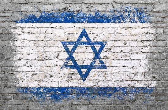 Flag of Israel painted on brick wall
