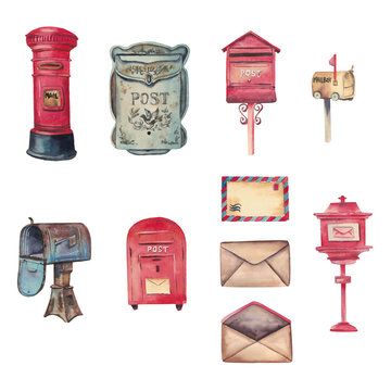 Watercolor handdrawn set with letters, red and blue retro mailboxes isolated on white background
