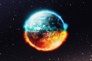 View of looking planet earth on space galaxy and star background , Global catastrophe concept , Elements of this image furnished by NASA.