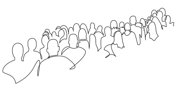Continuous one line drawing of business people standing in a queue.