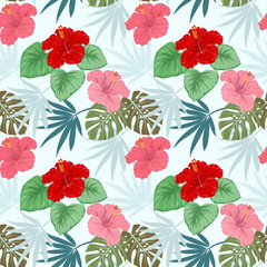 Hibiscus flowers with tropical leaf pattern.