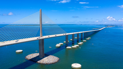 Sunshine Skyway bridge drone view looking north towards Pinellas county Wall mural