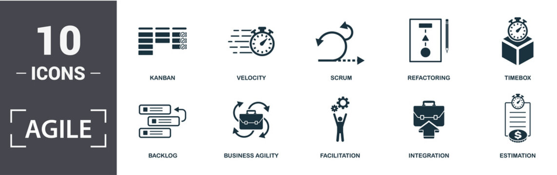 Agile icon set. Contain filled flat Backlog ,Business Agility ,Estimation ,Facilitation ,Integration ,Kanban ,Refactoring ,Scrum ,Timebox ,Velocity icons. Editable format