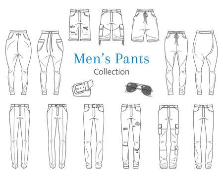 Men's pants collection, vector illustration.