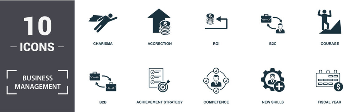 Business Management icon set. Contain filled flat charisma, competence, perspective vision, courage, b2b, b2c, turnover icons. Editable format