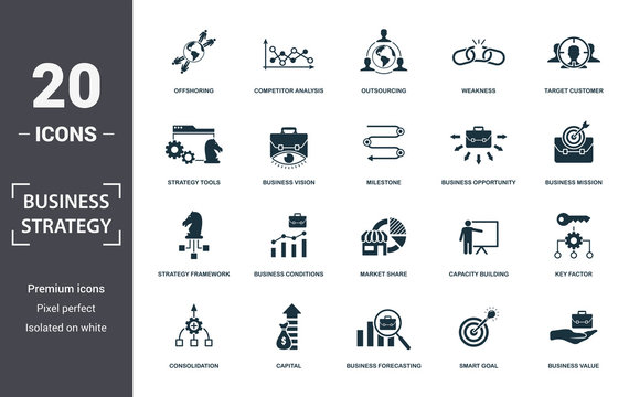 Business Strategy icon set. Contain filled flat business vision, business value, brand strategy, business conditions, competitive strategy, market share, strategy tools icons. Editable format
