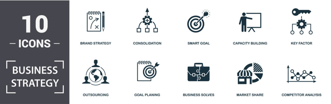 Business Strategy icon set. Contain filled flat business solves, brand strategy, competitive strategy, goal planing, competitor analysis, consolidation icons. Editable format