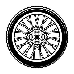 Black and white vector illustration of bicycle wheel