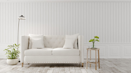 The interior has a White sofa on empty white wall background, 3D rendering
