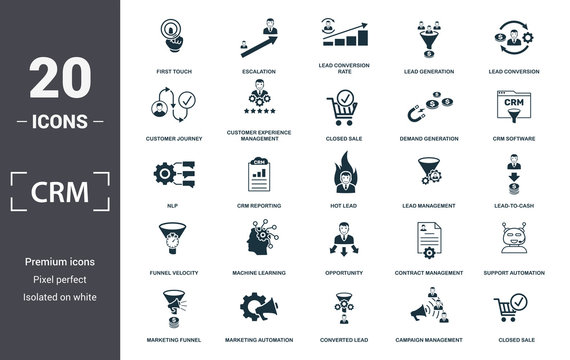 Crm icon set. Contain filled flat campaign management, closed sale, converted lead, crm software, customer journey, demand generation, first touch icons. Editable format