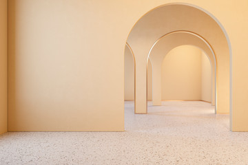 Beige interior with archs and terrazzo floor. 3d render illustration mock up