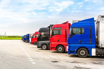Trucks on parking, cargo transportation in Europe