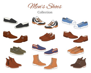 Men's shoes collection. Various types of male shoes casual boots, sneakers, formal shoes, vector illustration, isolated on white background.