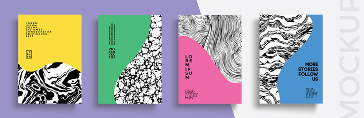 Modern abstract covers set. Cool gradient shapes composition. Frame for text Modern Art graphics. design business cards, invitations, gift cards, flyers ,brochures, banner Wall mural