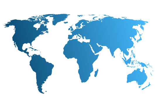 Blue World Map, continents of the planet - stock vector