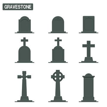 Set of gravestone on transparent background