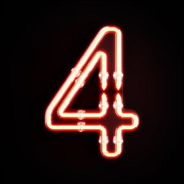 Neon light digit alphabet character 4 four font