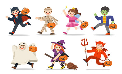 Set of Children dressed in Halloween fancy dress to go Trick or Treating. Happy Halloween. Wall mural