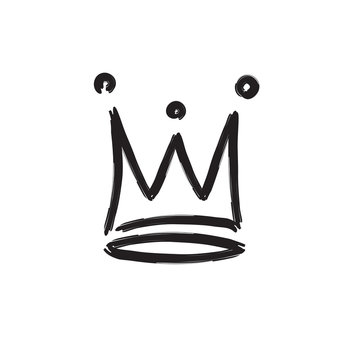 Vector hand draw crown isolated on white background