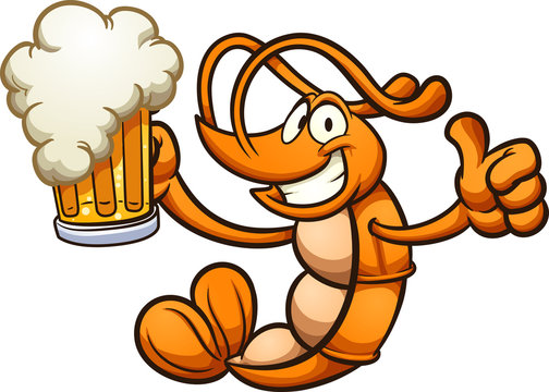 Happy cartoon shrimp holding a beer clip art. Vector illustration with simple gradients. Shrimp and beer on different layer.