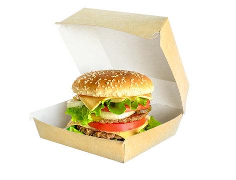 Big Hamburger in cardboard box isolated on white.
